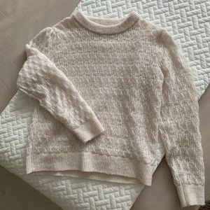 Zara Soft Cream Pointelle Knit Sweater